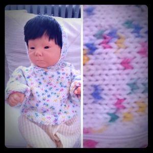VNT Rainbow Sprinkle Infant Sweater Hand Knit 0-3M